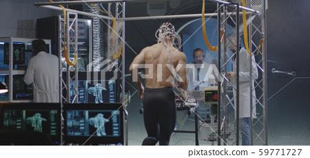 Astronaut running on treadmill 59771727