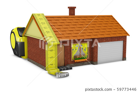 Measuring tape and house 59773446