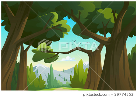 Vector illustration mountains and trees. 59774352