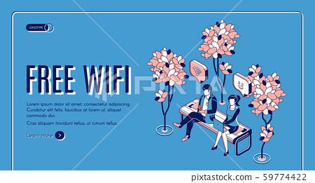 Free wifi isometric landing page wireless internet 59774422
