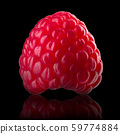 Macro photo of raspberry with reflection isolated on black background 59774884