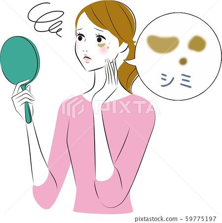 거울을 보는 여성 기미 59775197