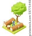 Vector isometric lumberjack cutts tree 59775448