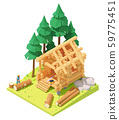 Vector isometric carpenter at log cabin building 59775451