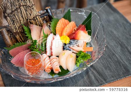 Various japanese fresh sashimi fish and seafood 59778316