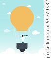Balloon businessman with spyglass vector illustration. oncept of looking new ideas and solutions 59779582