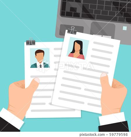 Hands Hold Resume Vector Illustration Cv Of Stock