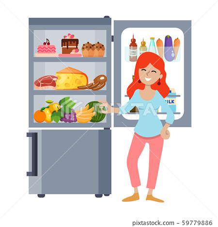 Young girl with open fridge vector illustration. Woman and refrigerator full food. Female standing 59779886