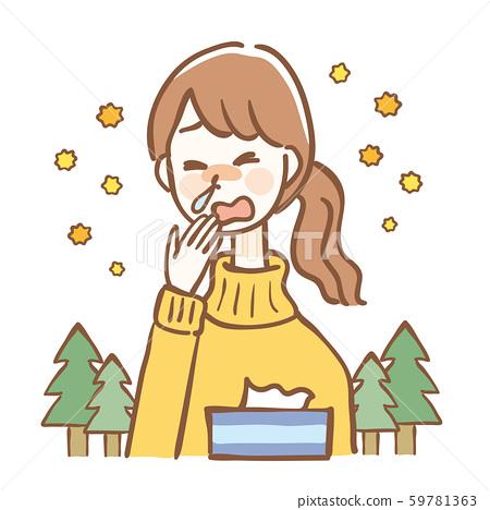 花粉症過敏性鼻炎女性 59781363