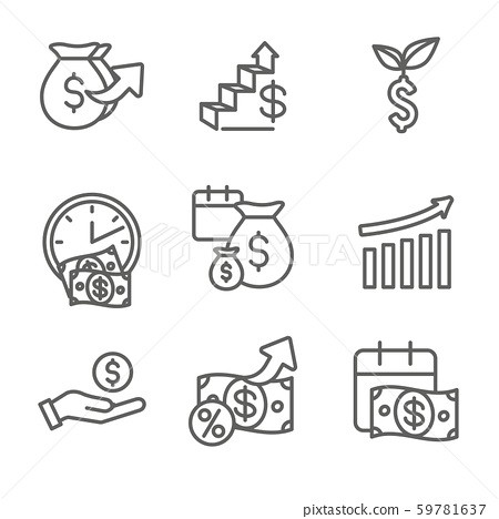 Banking, Investments and Growth Icon Set with 59781637