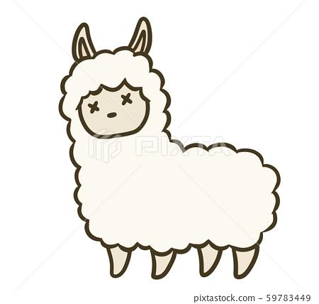 簡單的羊駝插圖(虛弱的面孔) 59783449