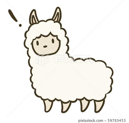Simple alpaca illustration (! Mark) 59783453