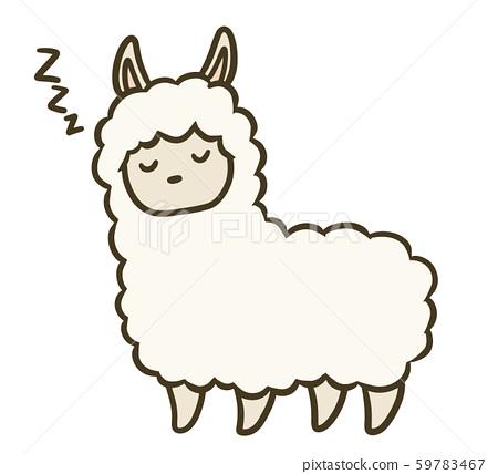 一個簡單的羊駝圖(睡著的臉) 59783467