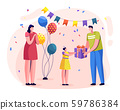 Family Celebrating Birthday, Parents Give Presents 59786384