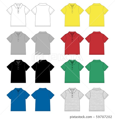 Set of technical sketch polo t shirt design 59787202