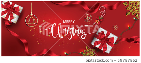Horizontal Christmas and Happy New Year banner Xmas sparkling lights garland with gifts box greeting cards, headers, website Objects viewed from above. Flat lay,Top view elements for promotion isolate 59787862