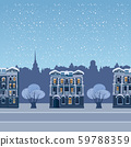 Urban winter city street with old town houses and trees cityscape. Vector illustration isolated 59788359