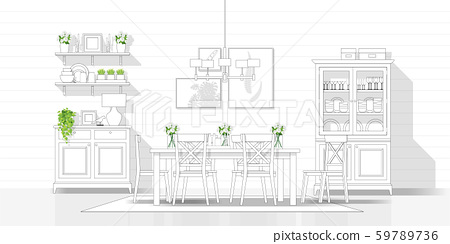 Interior design with modern dining room in black line sketch on white background 59789736