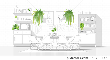 Interior design with modern dining room in black line sketch on white background 59789737