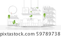 Interior design with modern dining room in black line sketch on white background 59789738