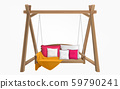 Wooden porch swing bench with pillows and blanket 59790241