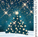 Christmas tree with many lights in night winter 59790717