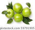 Green Apples With Leaves Isolated On White 59791905