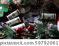 Dollars with coin lie on table chistmas background 59792061