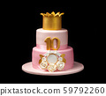Pink cake for a girls birthday, with a crown. On a black background. 59792260