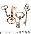 Isolated old key illustration element. Watercolor background illustration set. Isolated keys 59793836