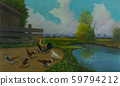 Five chickens and a big faucet beside the water 59794212