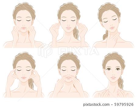 피부 관리를하고있는 여성의 일러스트 59795926