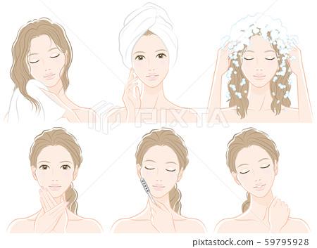 모발 관리와 피부 관리를하고있는 여성의 일러스트 59795928