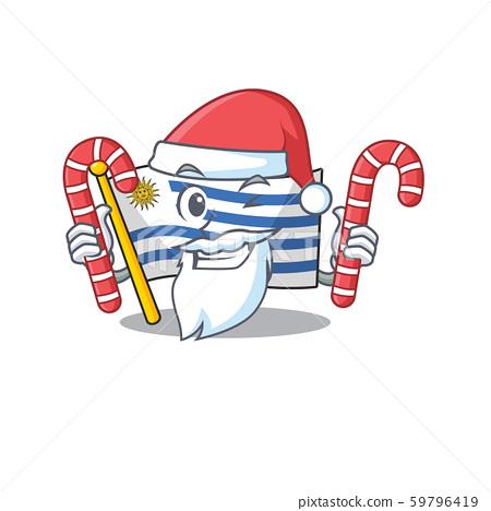 Mascot flag uruguay with in santa bring candy character 59796419