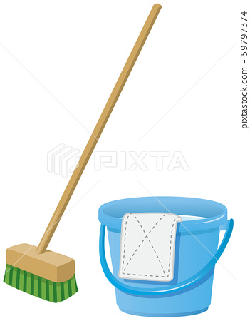 Deck brush and bucket image illustration 59797374
