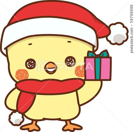 小雞戴著聖誕老人帽 59798986