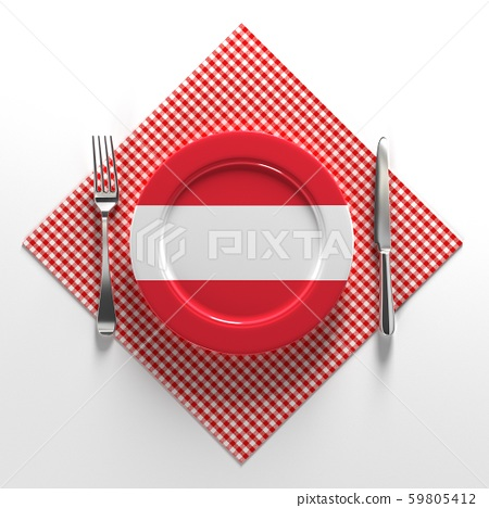 National dishes of Austria. Delicious recipes from Europe. Flag on a plate with food from Austria 59805412
