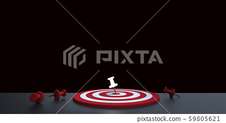 Glowing thumbtack placed in the target on dark background. Business target concept.3D render. 59805621