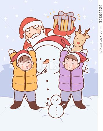 일러스트,크리스마스,산타,선물,어린이 59806526