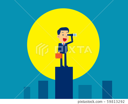 Businessman looking and searching. Moonlight 59813292