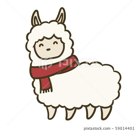 羊駝與消聲器的插圖 59814401