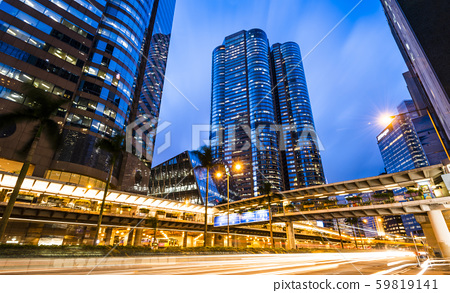 low angle view of modern office block buildings in Hong Kong. 59819141