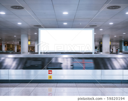 Mock up Signboard Banner Media Advertising at Airport Luggage Carousel 59820194
