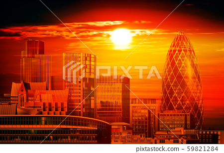 abstract red illustration with cityscape of London 59821284