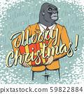 Monkey vector Christmas concept 59822884