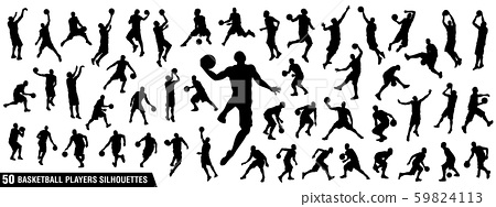 Vector set of Basketball players silhouettes 59824113