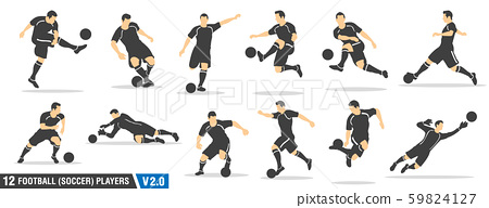 vector set of football, soccer players 59824127