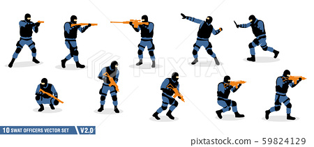 a pack of swat officers silhouette vector set 59824129