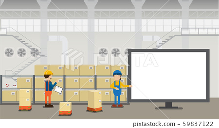 Empty screen monitor in warehouse 59837122
