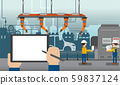Empty screen tablet in automobile factory 59837124